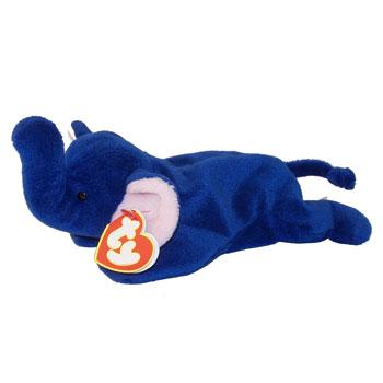 Ty Beanie Baby Peanut The Elephant Royal Blue 9 Inch