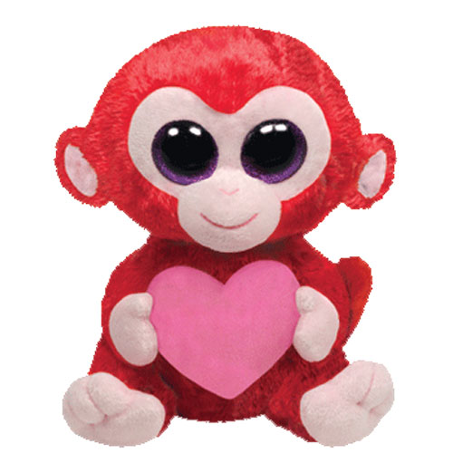TY Beanie Boos - CHARMING the Red Monkey with Heart (Regular Size - 6 inch)  (Mint)  Sell2BBNovelties.com  Sell TY Beanie Babies 68c83563283