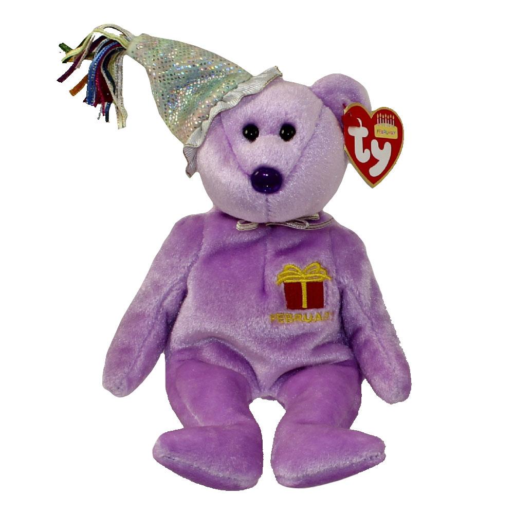 Ty Beanie Baby February The Teddy Birthday Bear W Hat