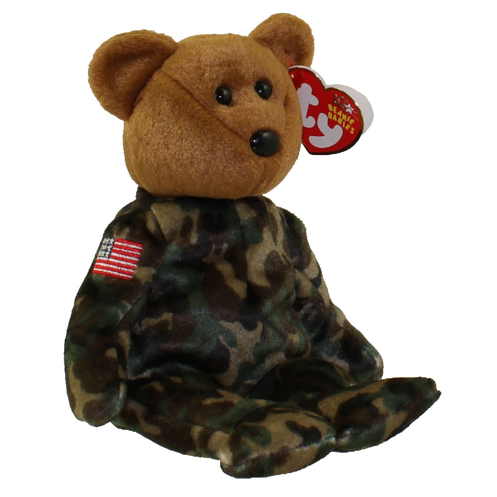 Ty Beanie Baby Hero The Uso Military Bear W Us Flag On