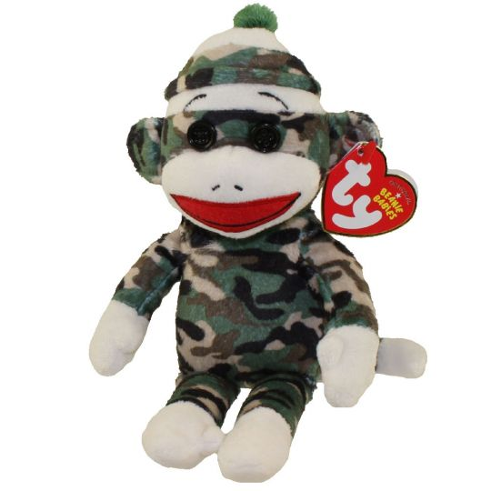 TY Beanie Baby - SOCK MONKEY (Camouflage - 8.5 inch) (Mint)   Sell2BBNovelties.com  Sell TY Beanie Babies d97485e500cd